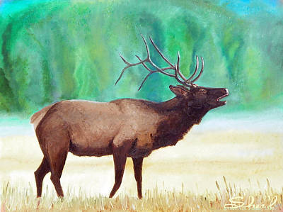 Poster featuring the painting Bugling Elk by Sherril Porter