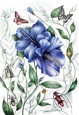 Bugs And Blue Hibiscus Poster by Marie Burke