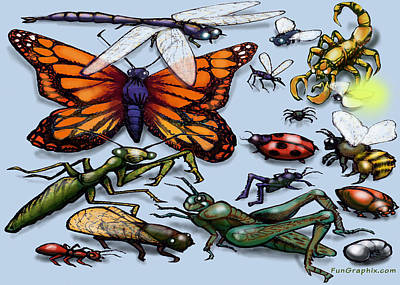 Poster featuring the painting Bugs by Kevin Middleton
