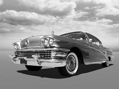 Buick Roadmaster 75 In Black And White Poster by Gill Billington