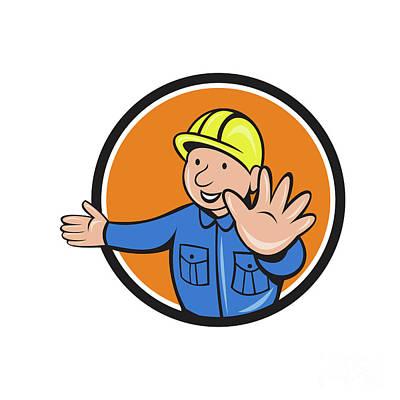 Builder Hand Stop Signal Circle Cartoon Poster by Aloysius Patrimonio