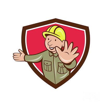 Builder Hand Stop Signal Crest Cartoon Poster by Aloysius Patrimonio
