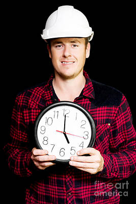 Builder With Clock Showing Home Time Poster