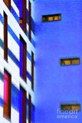 Poster featuring the digital art Building Block - Blue by Wendy Wilton