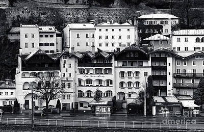 Buildings In Salzburg Mono Poster