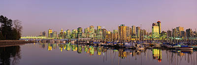 Buildings Lit Up At Dusk, Vancouver Poster by Panoramic Images