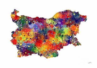Bulgaria Map 2 Watercolor Print  Poster by Svetla Tancheva