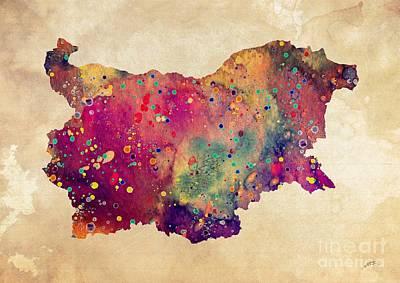 Bulgaria Map Watercolor Print  Poster by Svetla Tancheva
