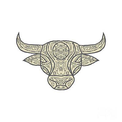 Bull Cow Head Front Mandala Poster by Aloysius Patrimonio