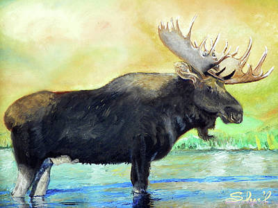 Poster featuring the painting Bull Moose In Mid Stream by Sherril Porter