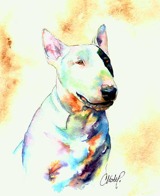 Bull Terrier Dog Portrait Poster by Christy  Freeman
