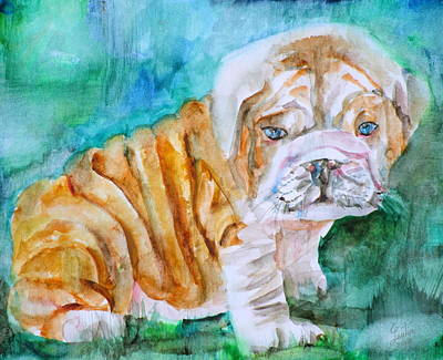Poster featuring the painting Bulldog Cub  - Watercolor Portrait by Fabrizio Cassetta