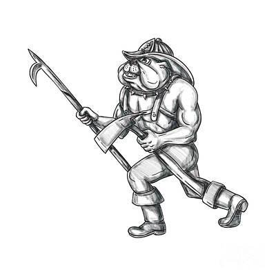 Bulldog Firefighter Pike Pole Fire Axe Tattoo Poster