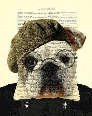 Bulldog Portrait, Animals In Clothes Poster by Madame Memento