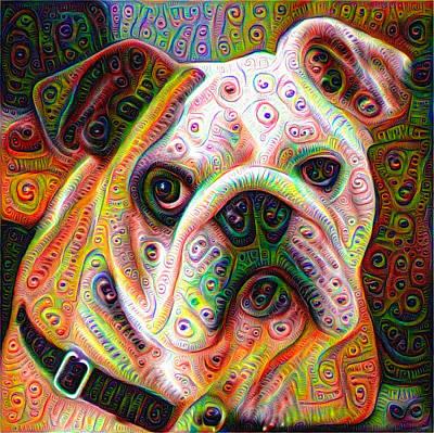 Bulldog Surreal Deep Dream Image Poster by Matthias Hauser