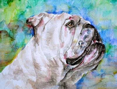 Poster featuring the painting Bulldog - Watercolor Portrait.4 by Fabrizio Cassetta