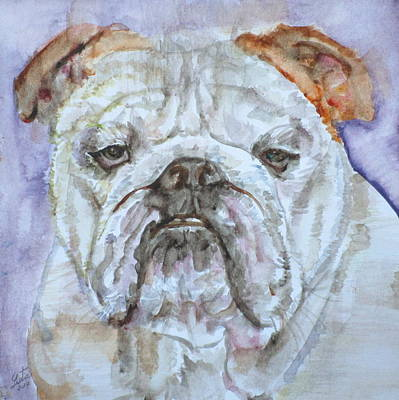 Poster featuring the painting Bulldog - Watercolor Portrait.5 by Fabrizio Cassetta