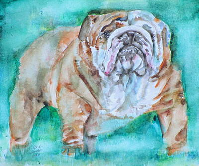 Poster featuring the painting Bulldog - Watercolor Portrait.6 by Fabrizio Cassetta
