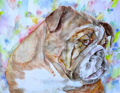 Poster featuring the painting Bulldog - Watercolor Portrait.7 by Fabrizio Cassetta