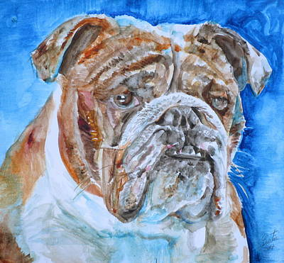 Poster featuring the painting Bulldog - Watercolor Portrait.8 by Fabrizio Cassetta