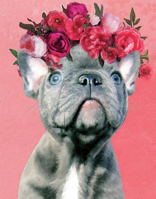 Bulldog With Flowers Poster
