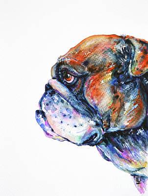 Poster featuring the painting Bulldog by Zaira Dzhaubaeva