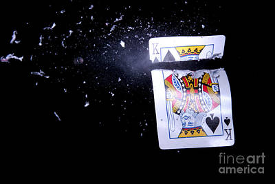 Bullet Hitting A Playing Card Poster by Ted Kinsman