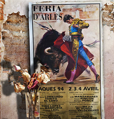 Bullfighter With Roses Poster by Larry Butterworth