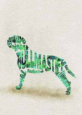 Bullmastiff Watercolor Painting / Typographic Art Poster