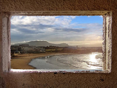 Bundoran And The Dartry Mountains Framed In The Window Of The Rougey Walk Shelter Poster