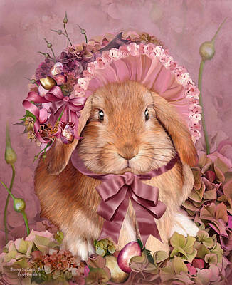 Bunny In Easter Bonnet Poster by Carol Cavalaris