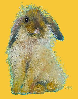 Bunny Painting On Yellow Background Poster by Jan Matson