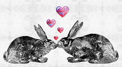 Bunny Rabbit Art - Hopped Up On Love 2 - By Sharon Cummings Poster by Sharon Cummings