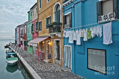 Burano Canal Airing Out Laundry Poster