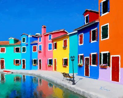 Poster featuring the photograph Burano Houses.  by Juan Carlos Ferro Duque