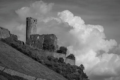 Burg Ehrenfels B W 02 Poster by Teresa Mucha