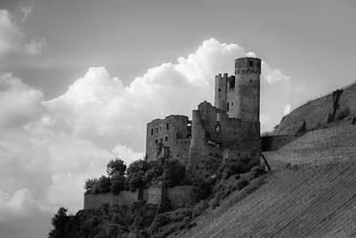Burg Ehrenfels B W Poster by Teresa Mucha