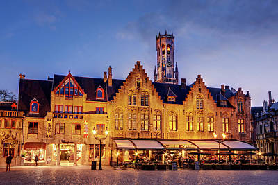 Poster featuring the photograph Burg Square Architecture At Night - Bruges by Barry O Carroll
