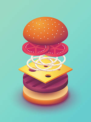 Burger Isometric Deconstructed - Mint Poster by Ivan Krpan