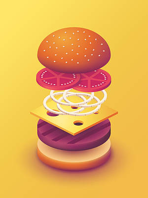 Burger Isometric Deconstructed - Yellow Poster by Ivan Krpan
