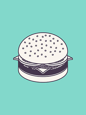 Burger Isometric Lineart - Mint Poster by Ivan Krpan