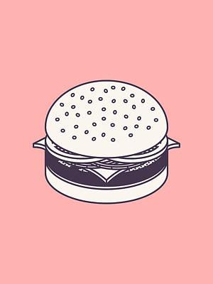 Burger Isometric Lineart - Salmon Poster by Ivan Krpan