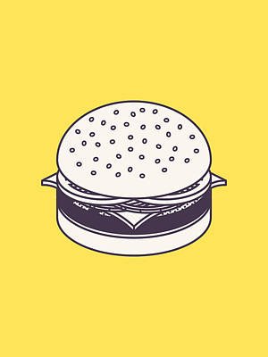 Burger Isometric Lineart - Yellow Poster by Ivan Krpan