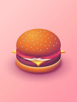 Burger Isometric - Plain Salmon Poster by Ivan Krpan