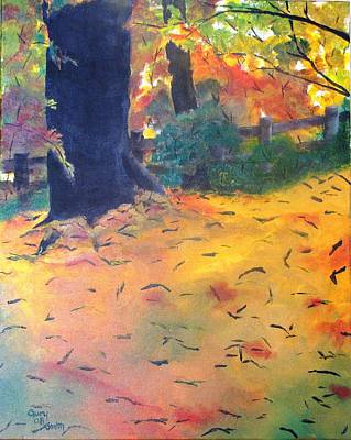 Poster featuring the painting Buried In Autumn Leaves by Gary Smith