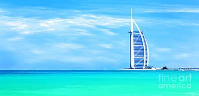 Burj Al Arab Hotel On Jumeirah Beach In Dubai Poster