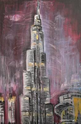 Poster featuring the painting Burj Khalifa by Sladjana Lazarevic