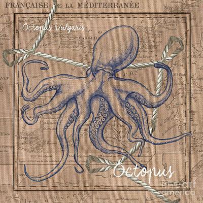 Burlap Octopus Poster by Debbie DeWitt
