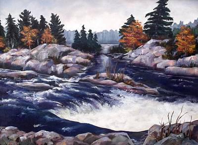 Poster featuring the painting Burleigh Falls by Diane Daigle