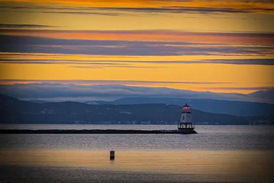Burlington Lighthouse Sunset Poster